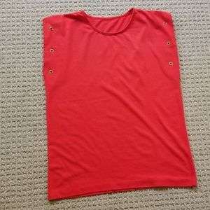 Tops - Red top with rivet details